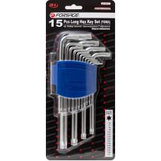 Набор ключей Г-образных TORX длинных, 15 предметов(Т6, Т7, Т8, Т9, Т10, Т15, Т20, Т25, Т27, T30, T40, T45, T50, T55, T60)в пластиковом держателе Forsage F-5151L 27341 в Алматы