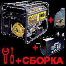 Бензиновый генератор HUTER 6500FSX + масло, аккумулятор и сборка