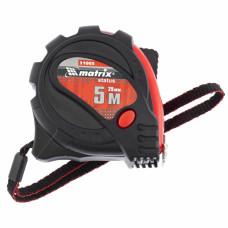 Рулетка Status magnet 3 fixations, 5 м х 25 мм, обрезиненный корпус, зацеп с магнитом MATRIX 31005 в Алматы