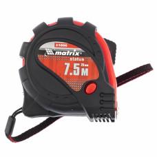 Рулетка Status magnet 3 fixations, 7,5 м х 25 мм, обрезиненный корпус, зацеп с магнитом MATRIX 31006 в Алматы