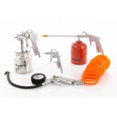 Набор пневмоинструмента, 5 предметов, быстросъемное соед., краскорасп. с нижним бачком MATRIX 57302 в Алматы