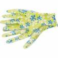 Перчатки садовые из полиэстера с нитрильным обливом, зеленые, S //PALISAD 67741