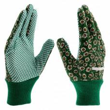 Перчатки садовые х/б ткань с ПВХ точкой, манжет, M //PALISAD 67762 в Алматы
