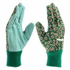 Перчатки садовые х/б ткань с ПВХ точкой, манжет, L //PALISAD 67763 в Алматы