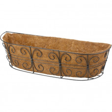 Пристенное кашпо с декором, 74 х 20 см, с кокосовой корзиной// PALISAD 69014 в Алматы
