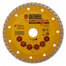 Диск алмазный отрезной Turbo, 150 х 22,2 мм., сухая резка DENZEL 73110 в Алматы