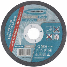 Круг отрезной по металлу, 125 х 1,0 х 22 мм // GROSS 74368 в Алматы
