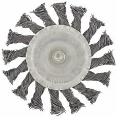 Щетка для дрели, 75 мм, плоская со шпилькой, крученая металлическая проволока MATRIX 74430 в Алматы