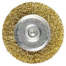 Щетка для дрели 100 мм, плоская со шпилькой, латунированная витая проволока // MATRIX 74450 в Алматы