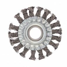 Щетка для УШМ, 100 мм, посадка 22,2 мм, плоская, крученая проволока 0,5 мм Сибртех 746307 в Алматы