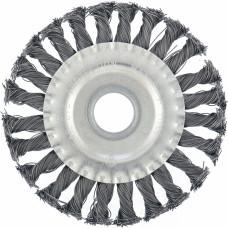 Щетка для УШМ 100 мм, посадка 22,2 мм, плоская, крученая проволока 0,5 мм. MATRIX 74630 в Алматы