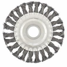 Щетка для УШМ 125 мм, посадка 22,2 мм, плоская, крученая металлическая проволока СИБРТЕХ 746327 в Алматы