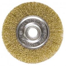 Щетка для УШМ, 100 мм, посадка 22,2 мм, плоская, латунированная витая проволока MATRIX 74648 в Алматы
