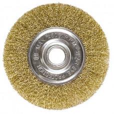 Щетка для УШМ, 125 мм, посадка 22,2 мм, плоская, латунированная витая проволока MATRIX 74656 в Алматы