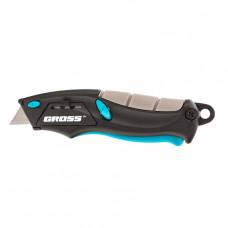 Нож ремонтно-монтажный МИНИ, трехкомпонентная рукоятка, авто выброс/возврат лезвия, 100мм + 2 запасных лезвия GROSS 78873 в Алматы