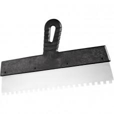 Шпатель из нержавеющей стали, 200 мм, зуб 6х6 мм, пластмассовая ручка // СИБРТЕХ 85464 в Алматы