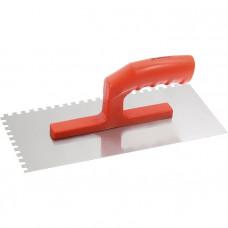 Гладилка стальная, 280 х 130 мм, зеркальная полировка, пластмассовая ручка, зуб 6 х 6 мм MATRIX 86775 в Алматы