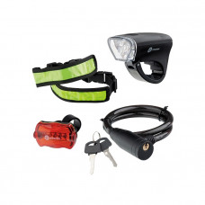 Набор велосипедный : передний и задний фонари Led, светоотражатель и тросовый замок Stern 90561 в Алматы