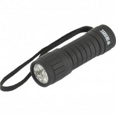 Фонарь светодиодный, черный корпус с мягким покрытием, 9 Led, 3хААА Denzel 92610 в Алматы