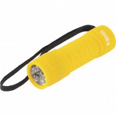 Фонарь светодиодный, желтый корпус с мягким покрытием, 9 Led, 3хААА Denzel 92613 в Алматы