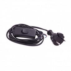 Шнур электрический соединительный, для бра с выключателем, 1,7 м, 120 Вт, черный, тип V-1 Россия Сибртех 96017 в Алматы