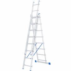Лестница, 3 х 8 ступеней, алюминиевая, трехсекционная СИБРТЕХ Pоссия 97818 в Алматы