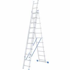 Лестница, 3 х 11 ступеней, алюминиевая, трехсекционная СИБРТЕХ Pоссия 97821 в Алматы