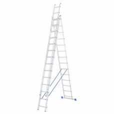Лестница, 3 х 14 ступеней, алюминиевая, трехсекционная СИБРТЕХ Pоссия 97824 в Алматы