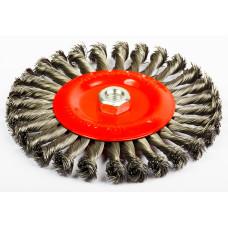 Щетка зачистная дисковая витая стальная скруч. 200/41x15, 34K, M14x2, RPM8500 Интерскол 2233920001500