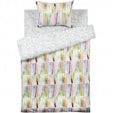 Комплект постельного белья «Плитка» полутораспальный поплин цвет серый/розовый/белый в Алматы