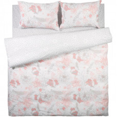 Комплект постельного белья «Паутинка» двуспальный поплин цвет розовый/серый в Алматы