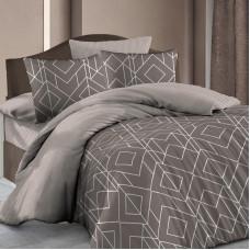 Комплект постельного белья «Каро», евро, бязь, светло-коричневый в Алматы