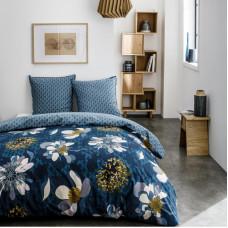 Комплект постельного белья «Цветы» полутораспальный поплин синий в Алматы