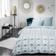 Комплект постельного белья «Цветы» двуспальный поплин синий в Алматы